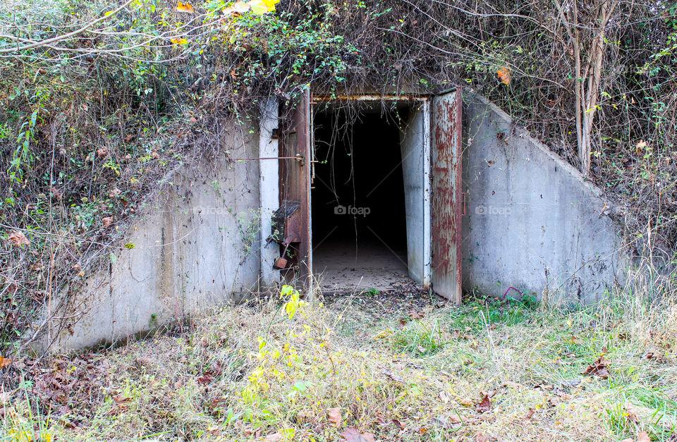 Entrance to hidden WWll  concrete TNT storage igloo