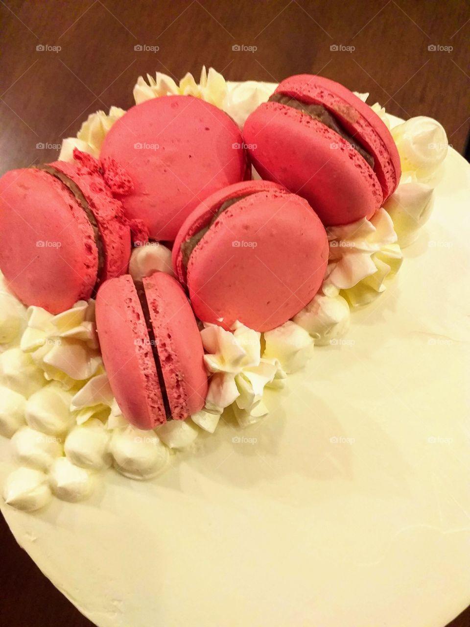 Birthday cake decorated with macaron