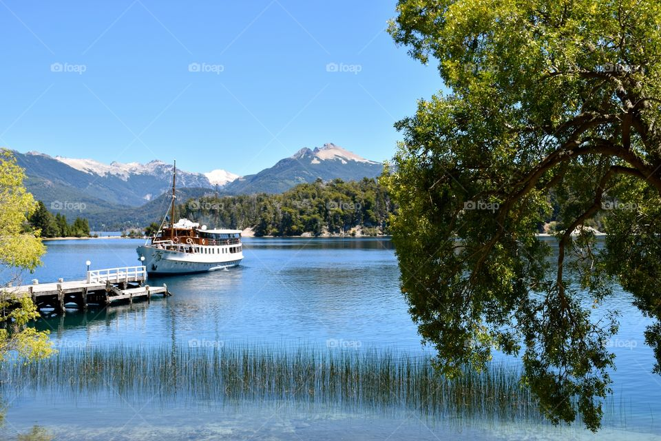 Boat approaching dock at Nahuel Huapi Lake Argentina