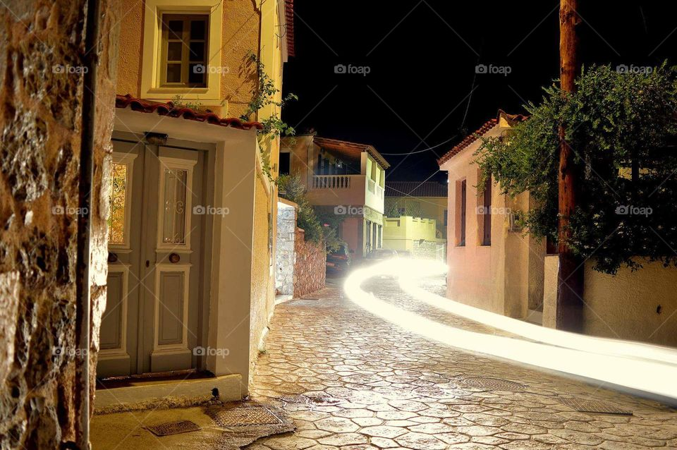 kranidi town city Greece street light house home night porto heli porto xeli kranidi houses