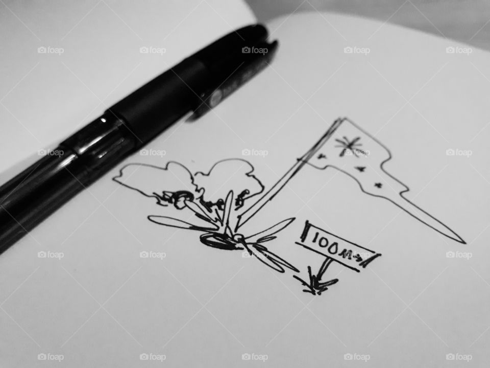 A pen and a drawing. Black and white image