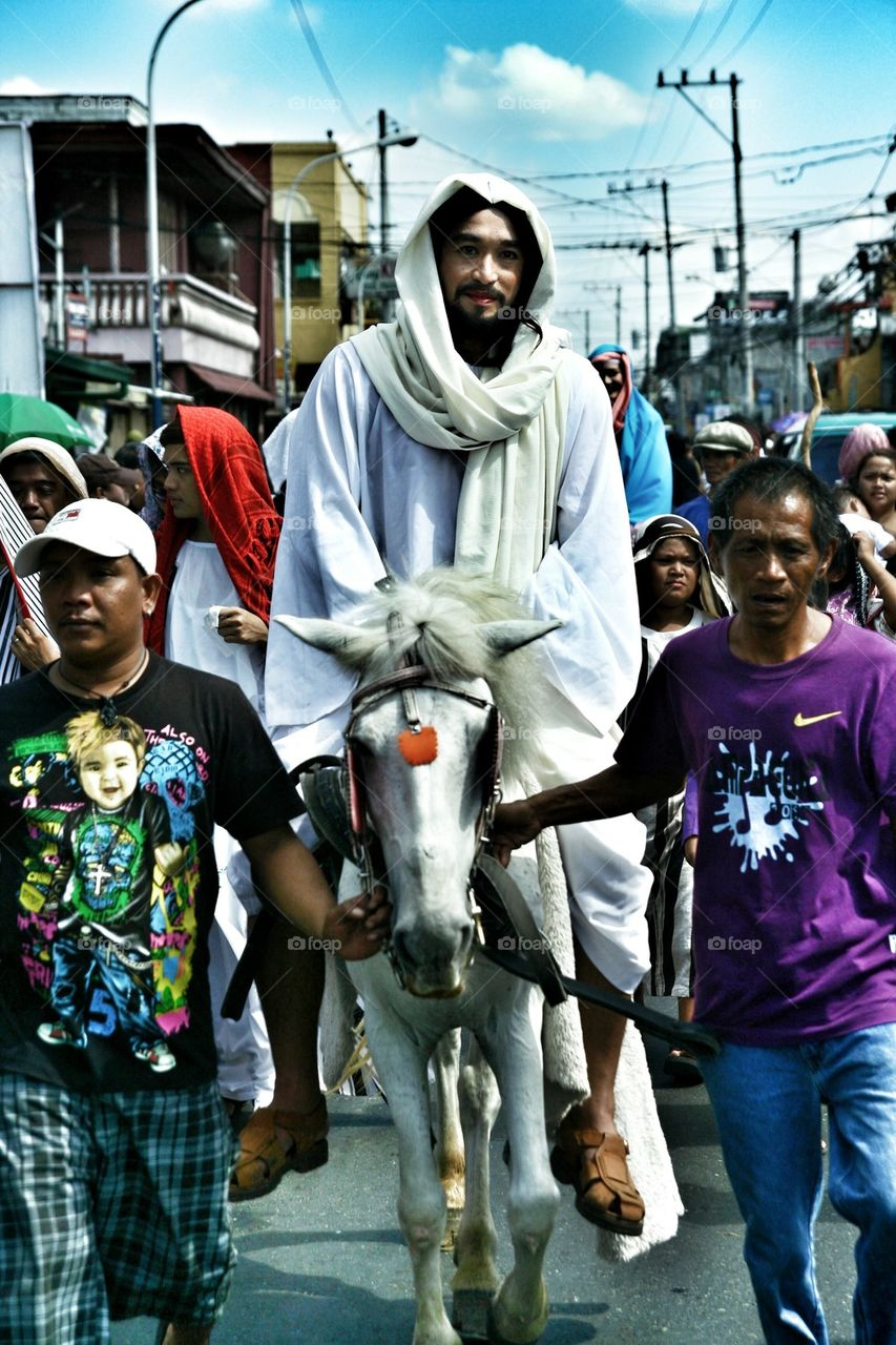 characters in the reenactment of the death of jesus christ on good friday during holy week in cainta, rizal, philippines, asia