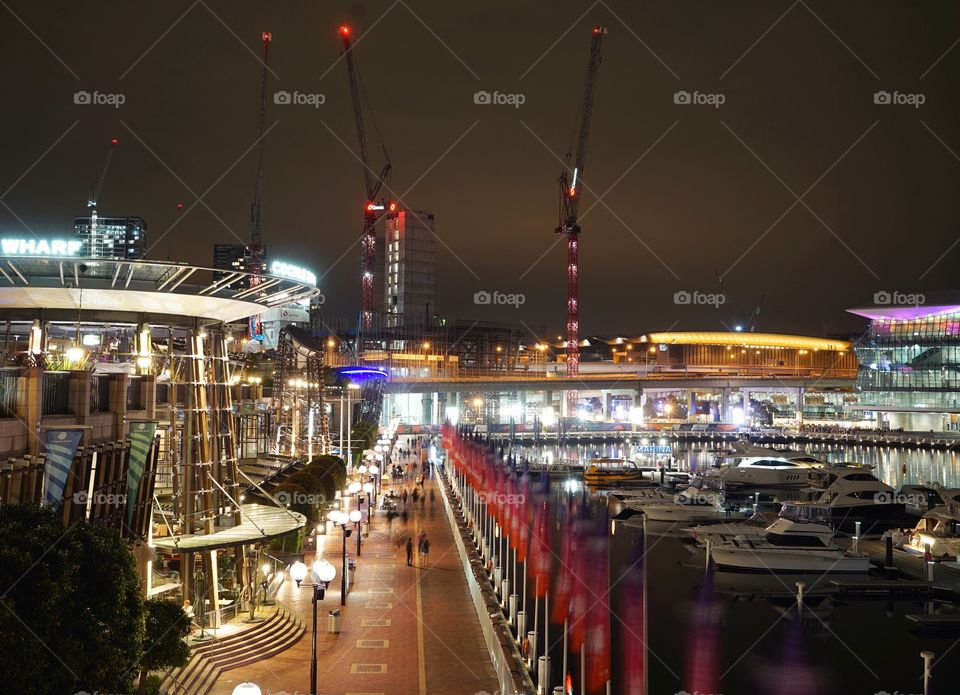 Sydney darling harbour summer night