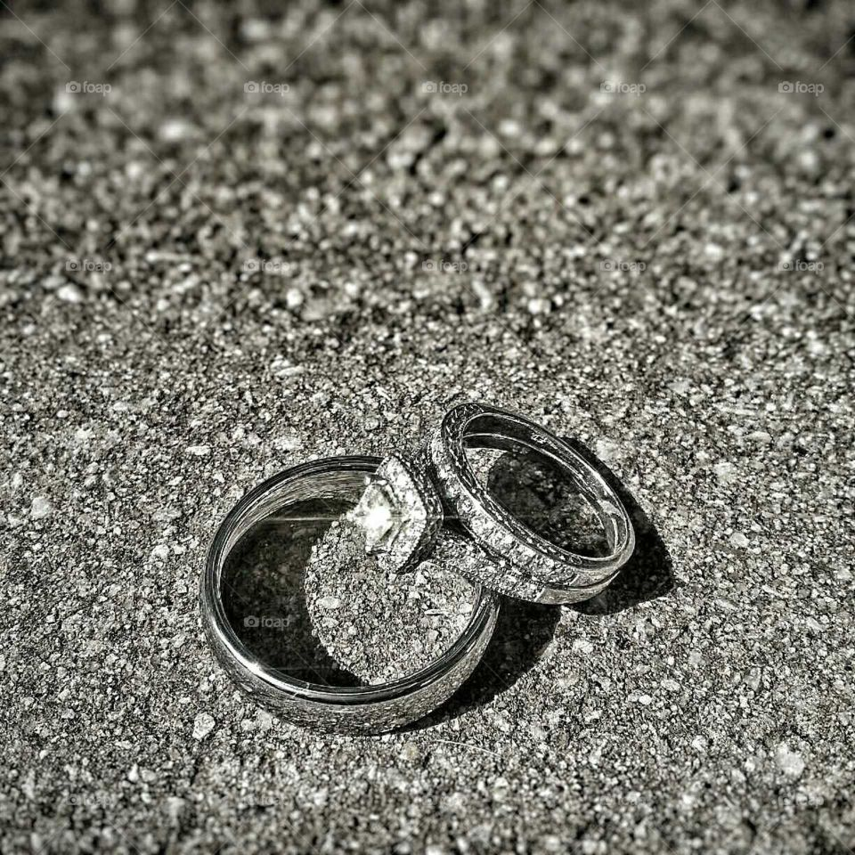 Wedding day. Took a quick picture of my brothers wedding rings before the big day.