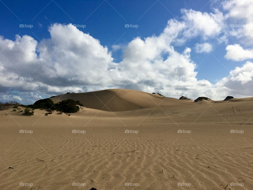 South Australia remote pristine coastal sand dunes on sunny day, cloud formations, copy text space, Lincoln National Park