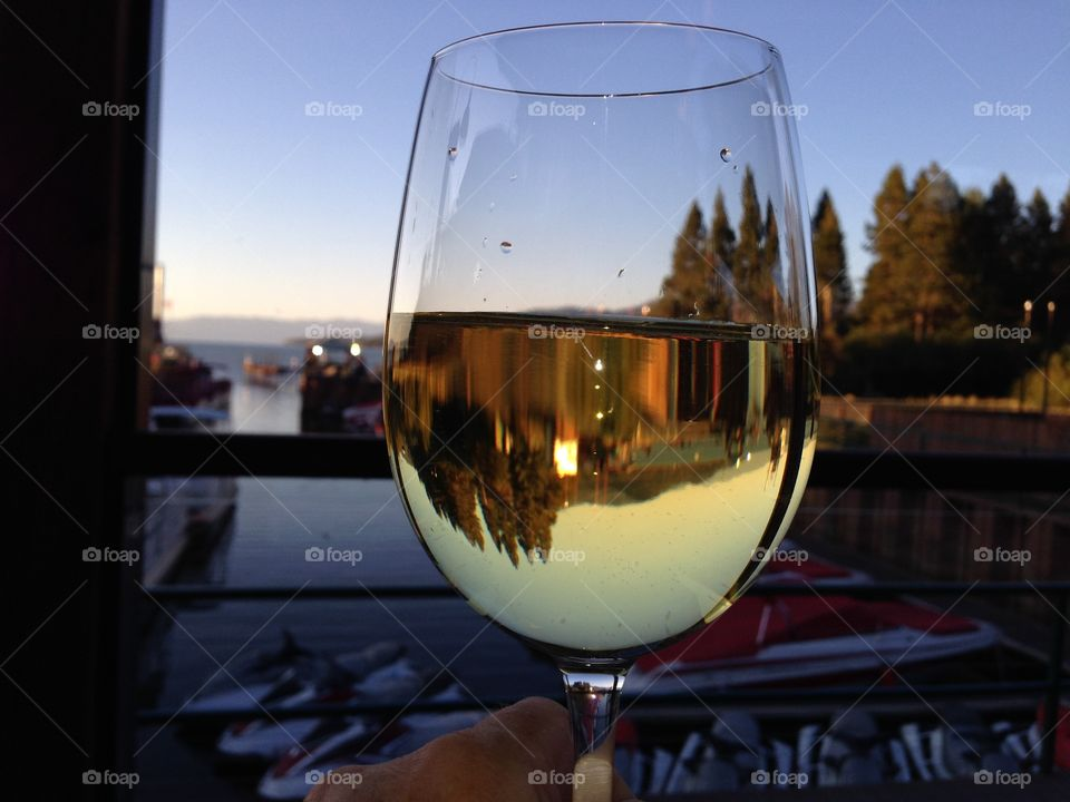 Reflection in wine glass