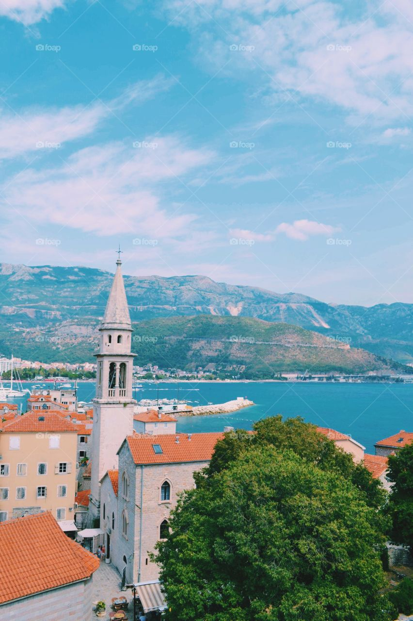 Beautiful view of seaside in Montenegro with mountains and see nice place to travel to and visit