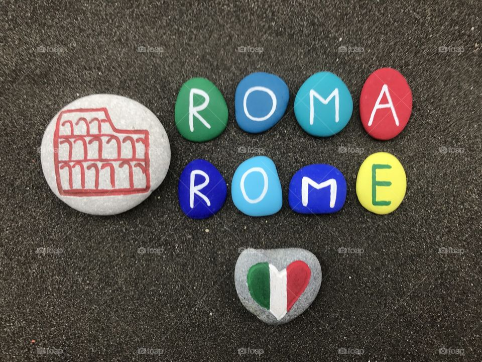 Roma, Rome, the eternal city, souvenir with colored stones