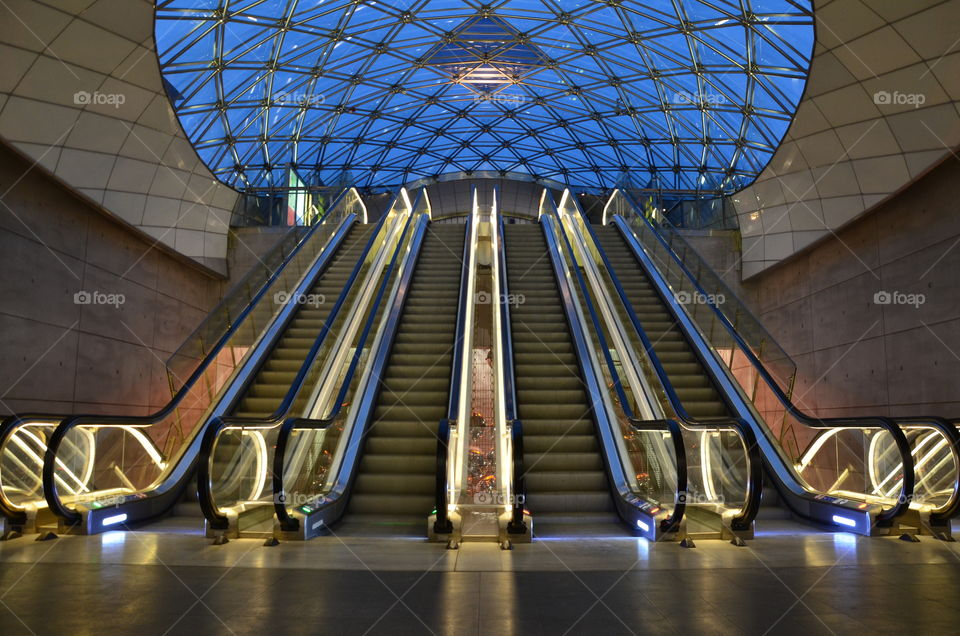Going somewhere . The escalators in Triangelns subway station, Malmö Sweden. Are very popular place for photographers