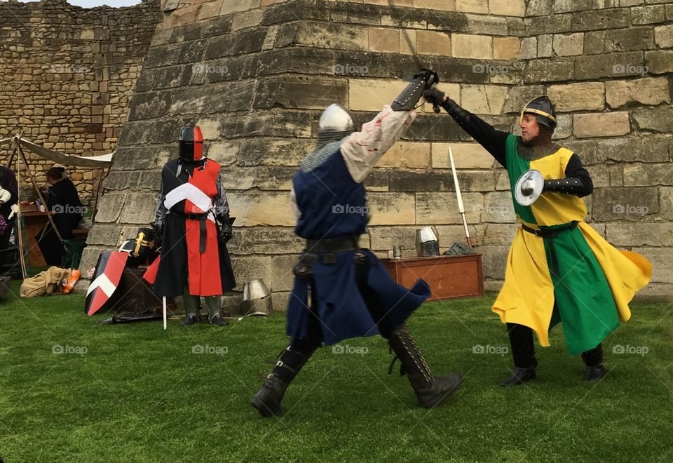 Medieval Knights sword fighting