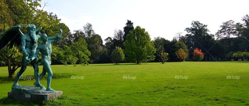 Landscape in a big garden in Meise, Belgium.