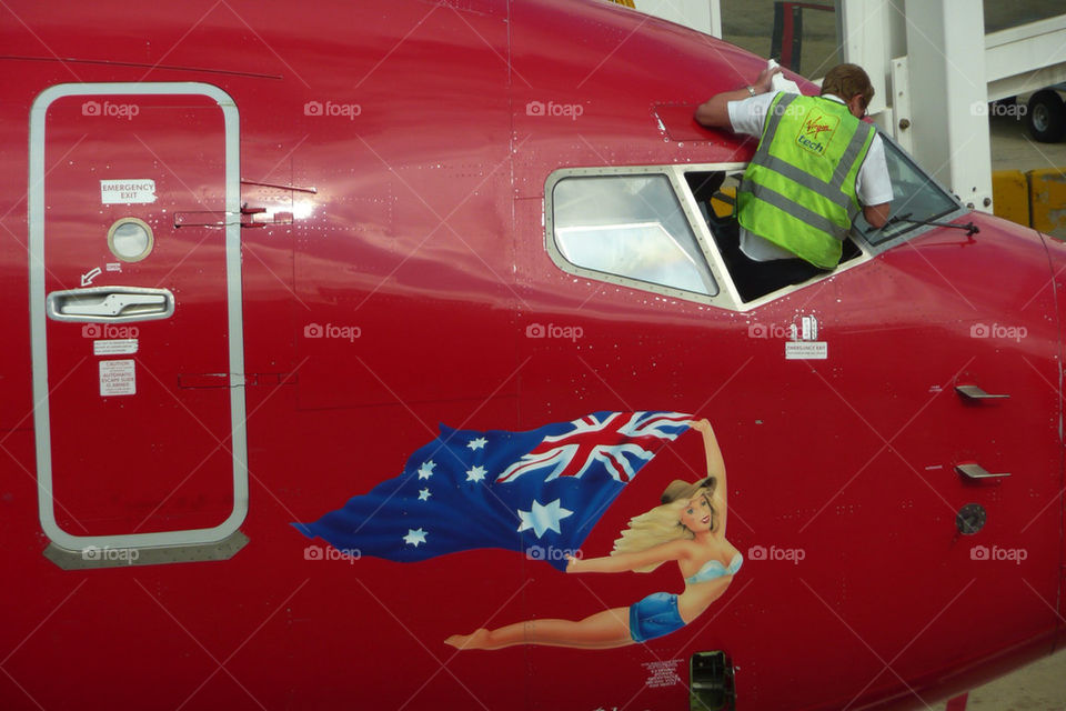 red airplane airport aircraft by paulieuk