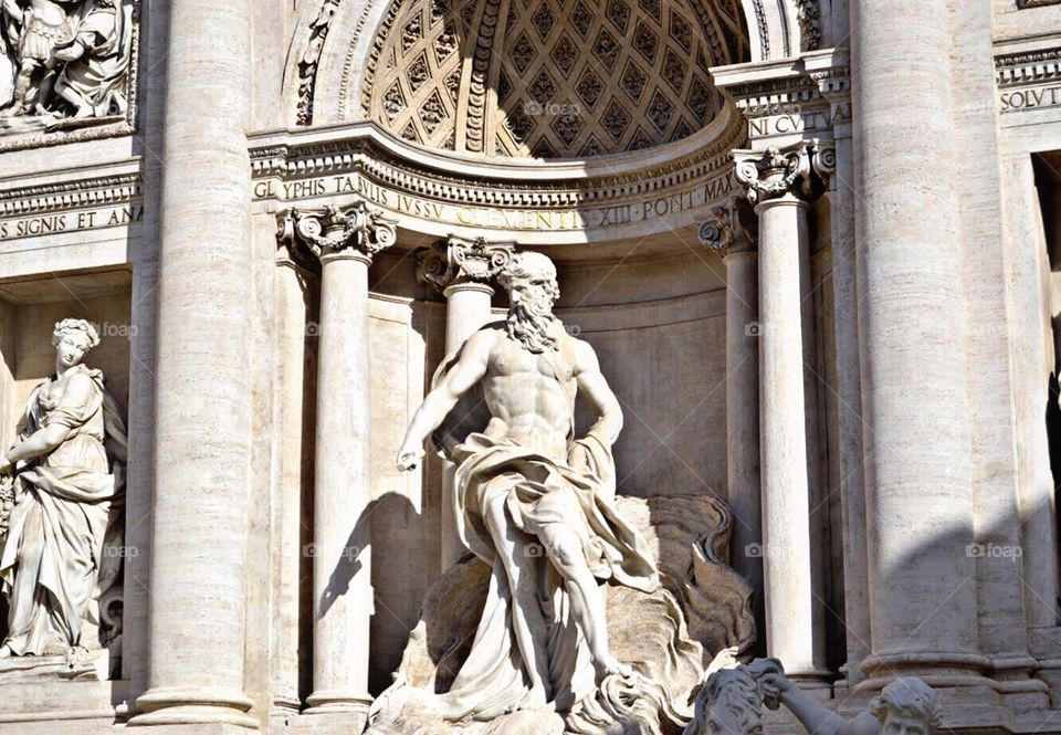 Sculpture at the Trevi Fountain, Rome (Italy)