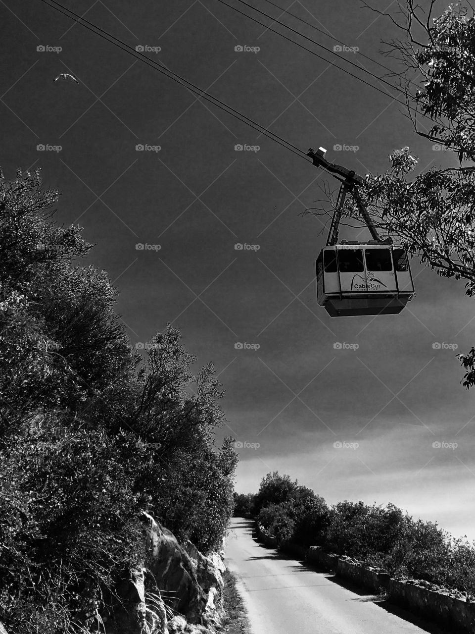 Black and white photography, cable car, sky, Gibraltar