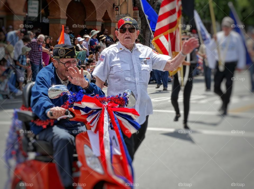 World War 2 Veterans. American Heroes In Fourth Of July Parade