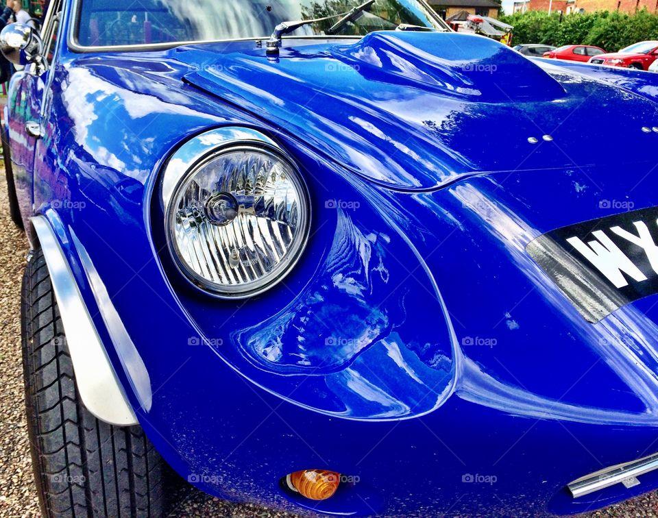 Close up headlight on vintage car