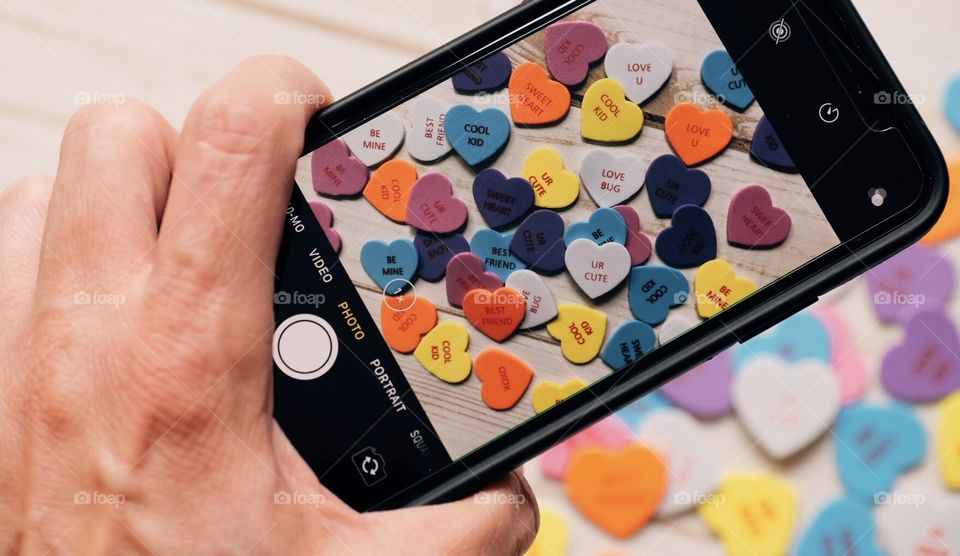 Colorful Hearts Shot Through An iPhone X, Valentine's Day Celebration, Colorful Hearts, Love Is All Around, Gift Of Hearts, Perspective Shot, Viewing Through an iPhone X