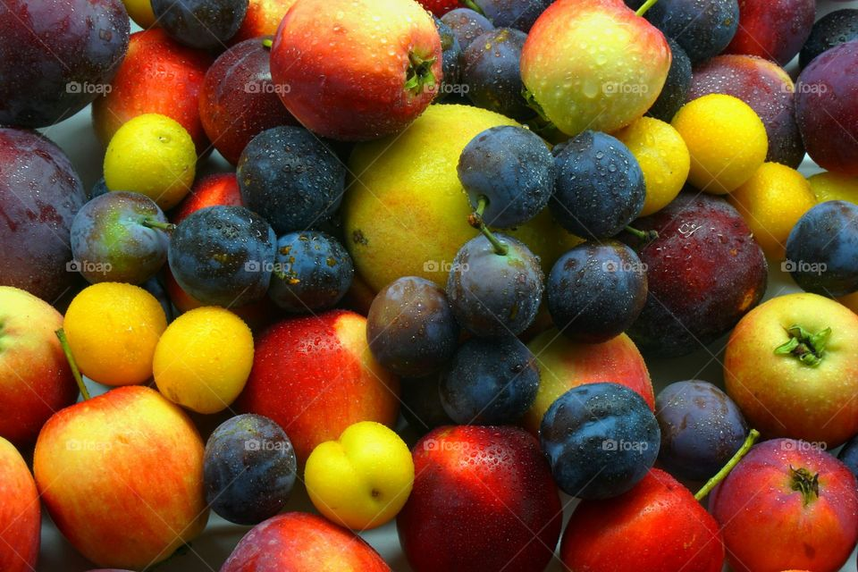 Full frame of apple, grapes, and plums