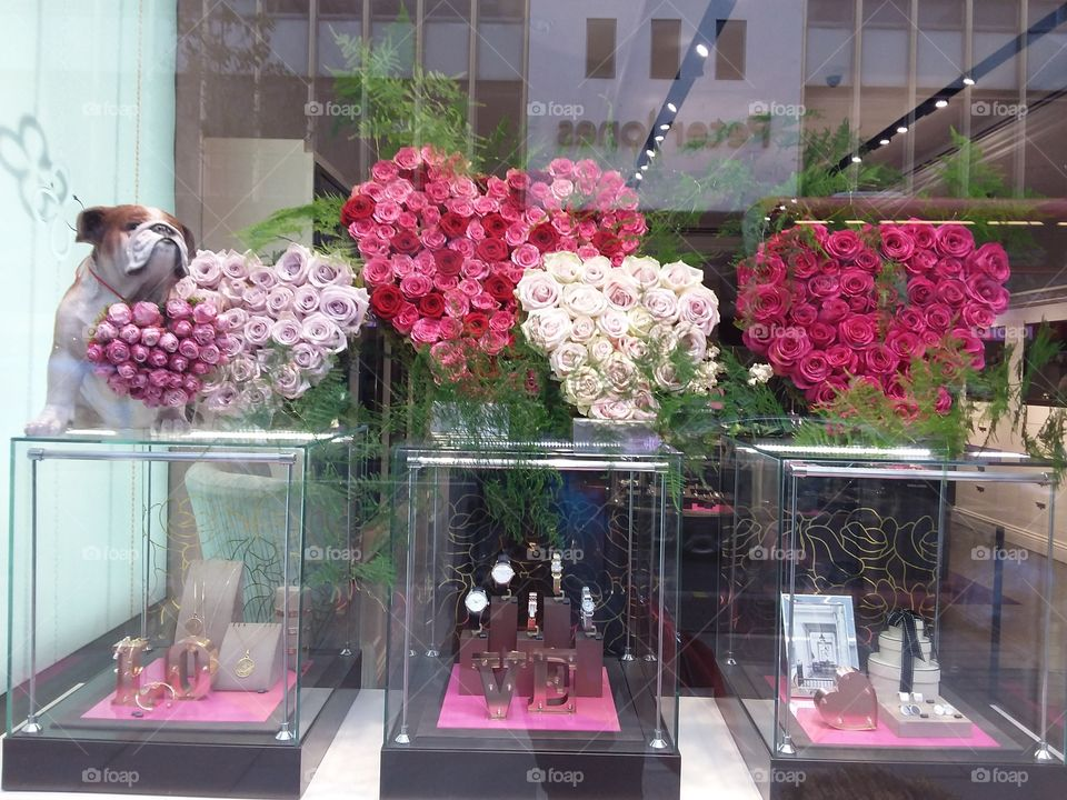 Chelsea flower show shop window display at Sloane square Chelsea Kings road London