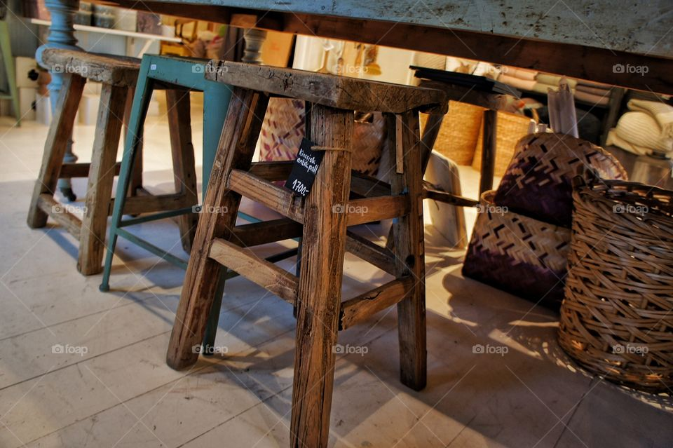 Stools in a row