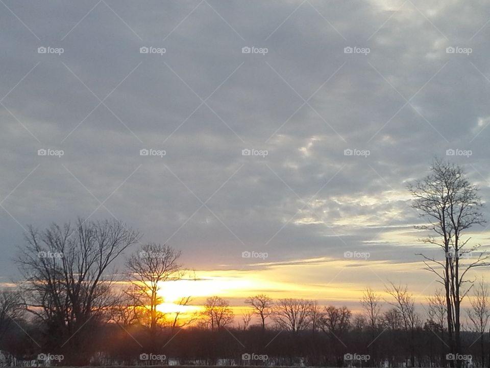 winter Michigan sunrise