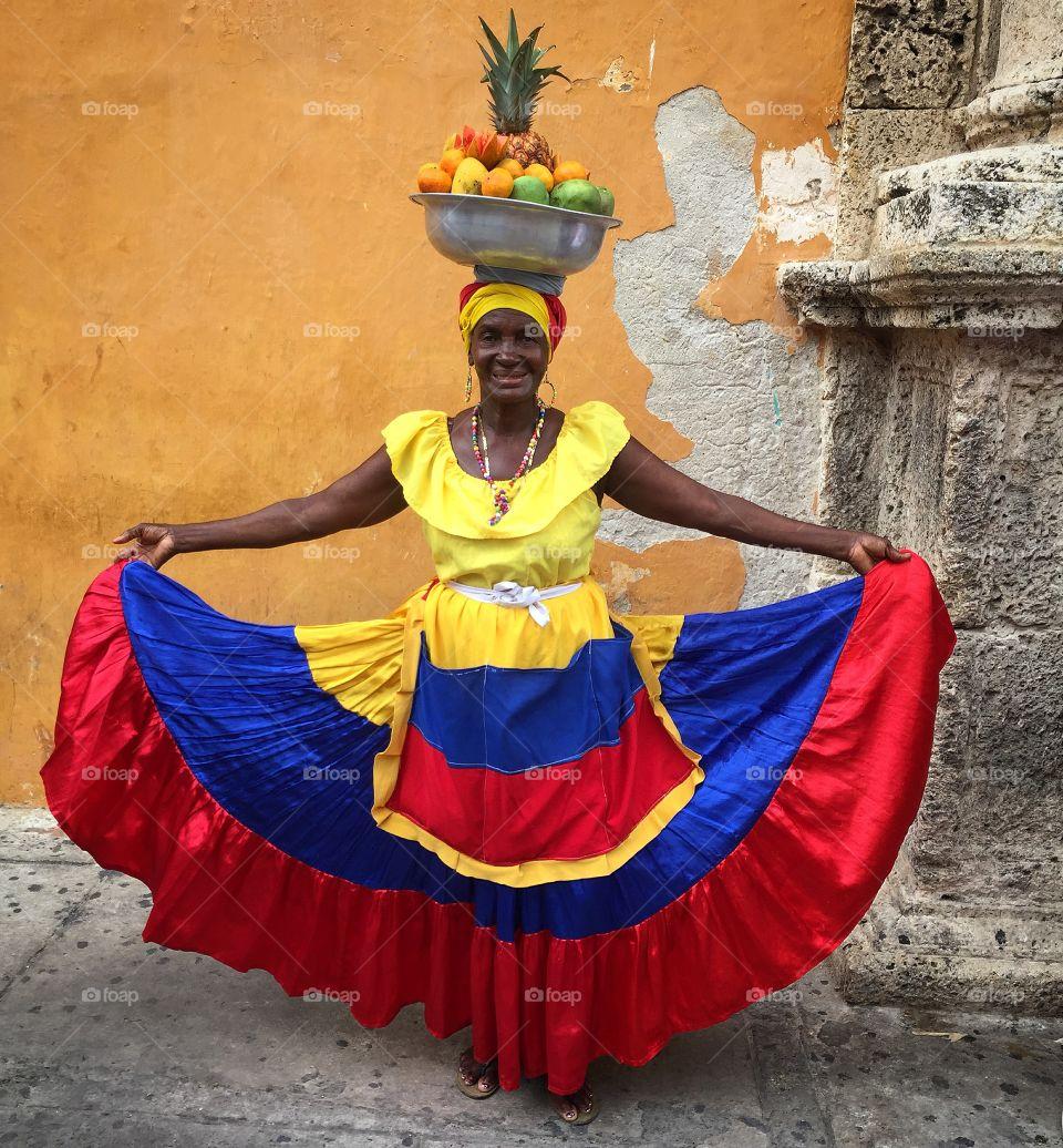 Beautiful Palenquera de Cartagena