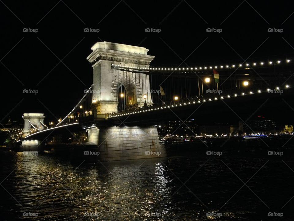Bridge Over the Danube. Budapest by night