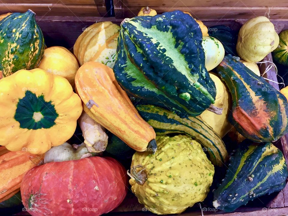 A lot of small pumpkins in wooden box