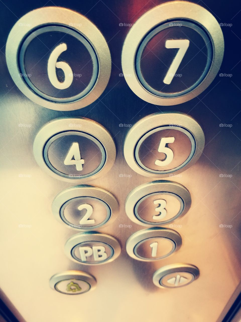 Close-up of lift buttons