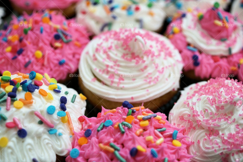 Full frame shot of cupcakes with sprinkles