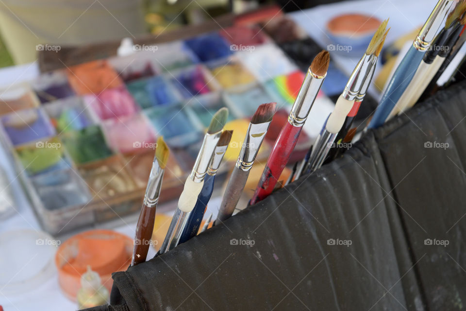 Variety of color brushes