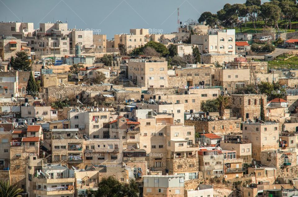 High angle view of Jerusalem cityscape