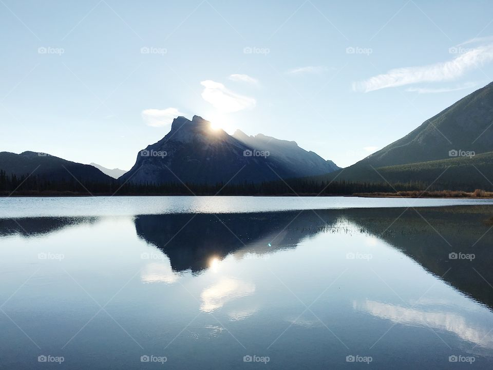 Sunrise over lake in banff