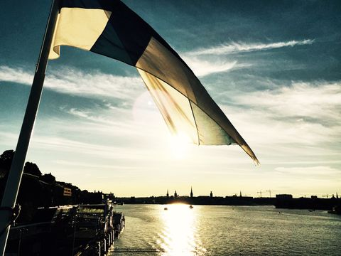 A farewell to Stockholm. Sunset view of Stockholm on the Finnish ferry boat