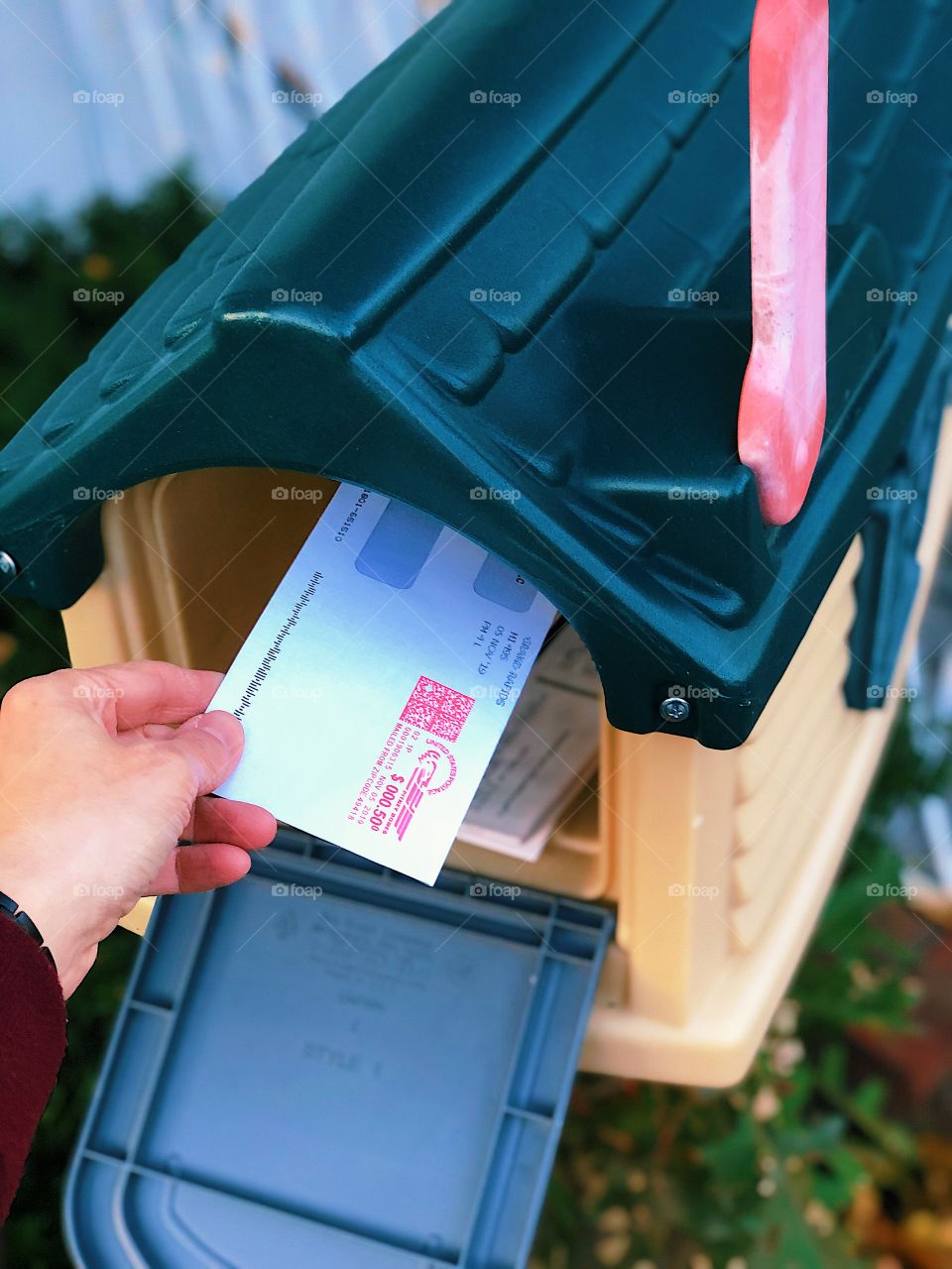 Woman Mailing Letter, Woman Getting Mail, Mailbox With Letter, Flag Up On Mailbox, Letter In Mailbox, USPS, Bills In The Mailbox, Residential Mailbox, Daily Routines, Daily Chores, Postage On Mail, Mailbox At Home