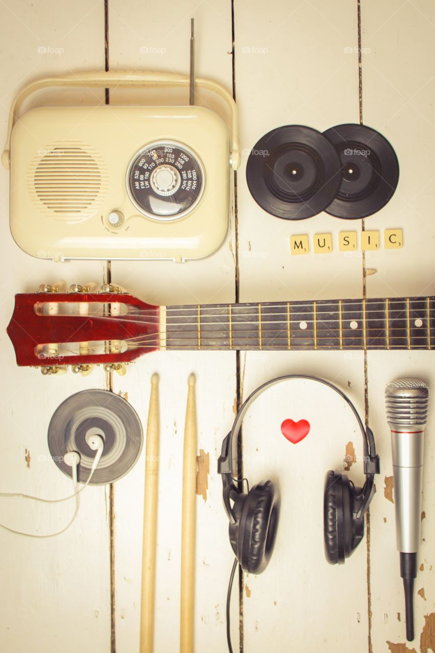 Musical accessories on wooden table