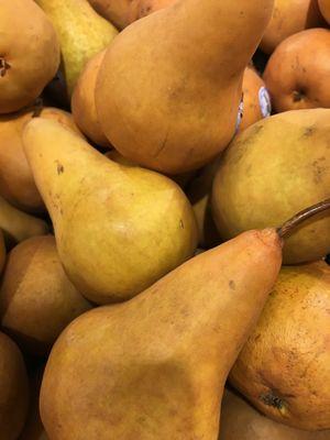 Full frame of organic yellow pears