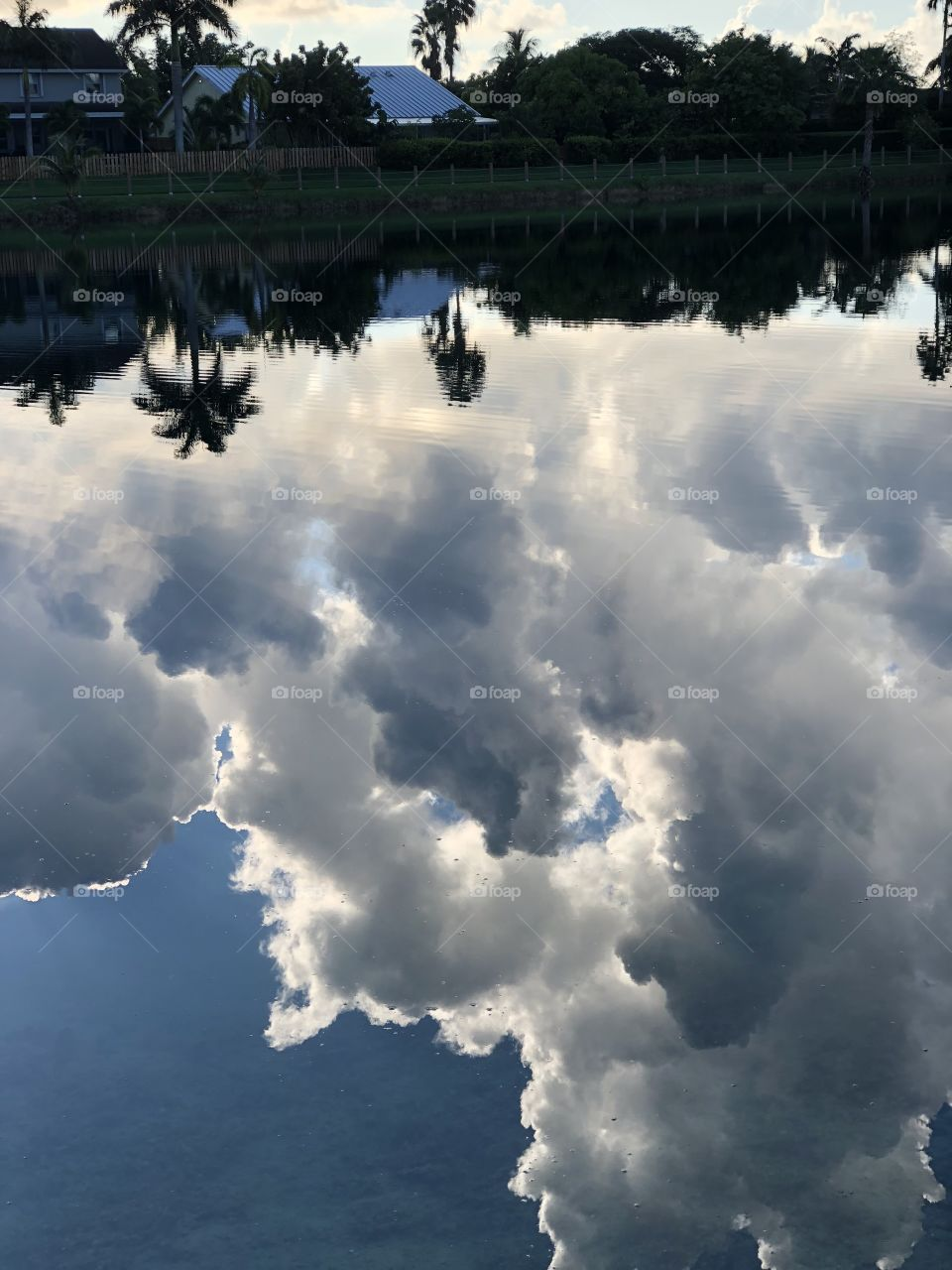 Topsy turvy world with clouds in the water and land above the skies.