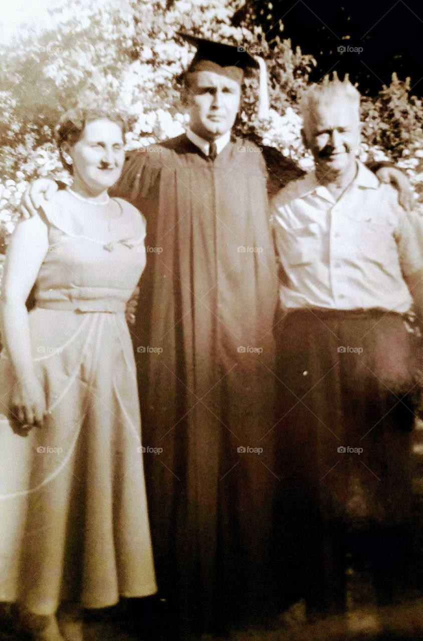 Mother, Son and Grandfather High School Graduation 1950