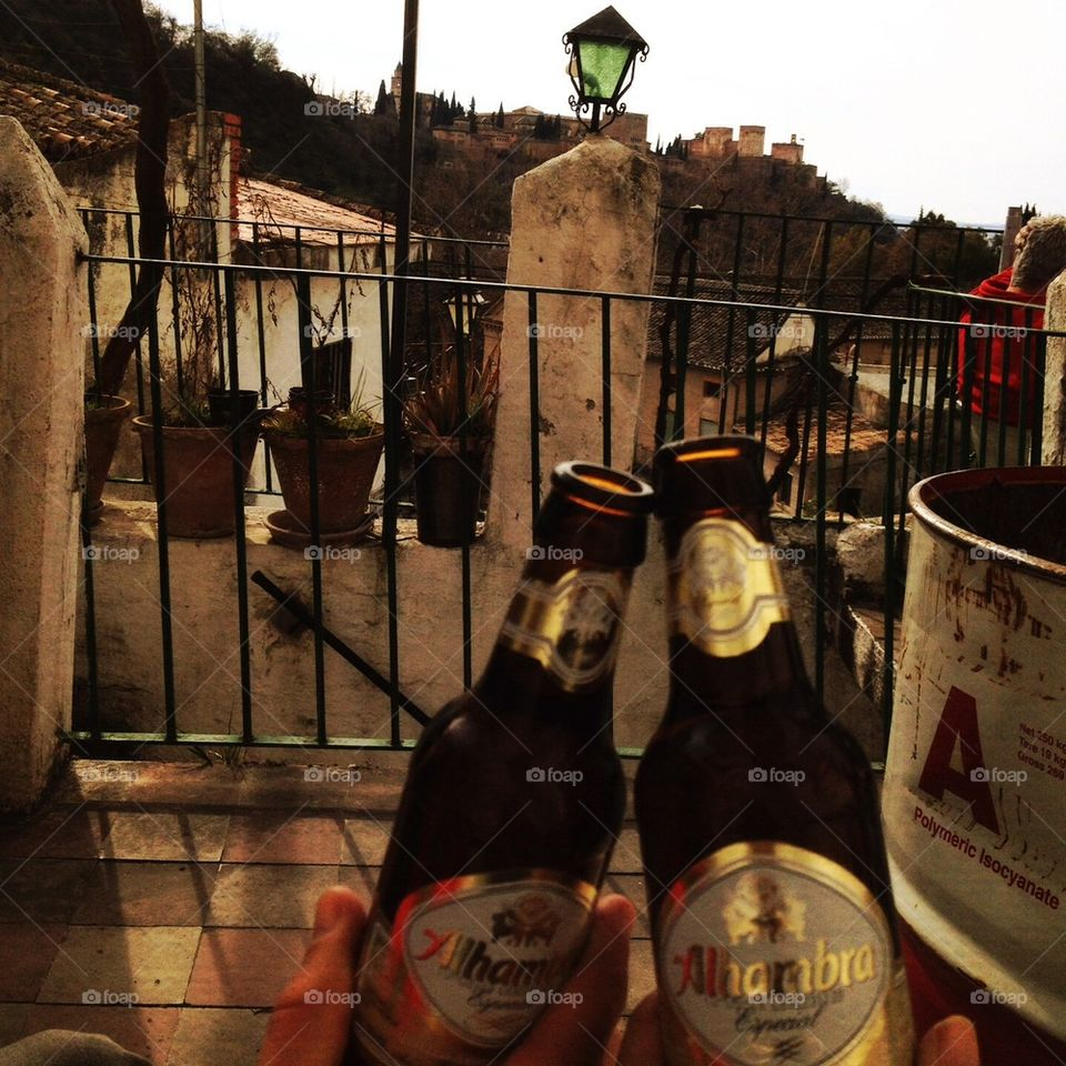 Drinking 2 Alhambras looking at the Alhambra