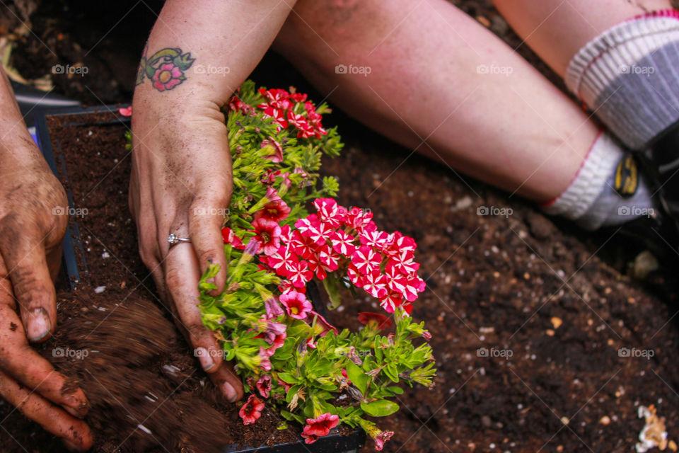 Putting soil into a container garden