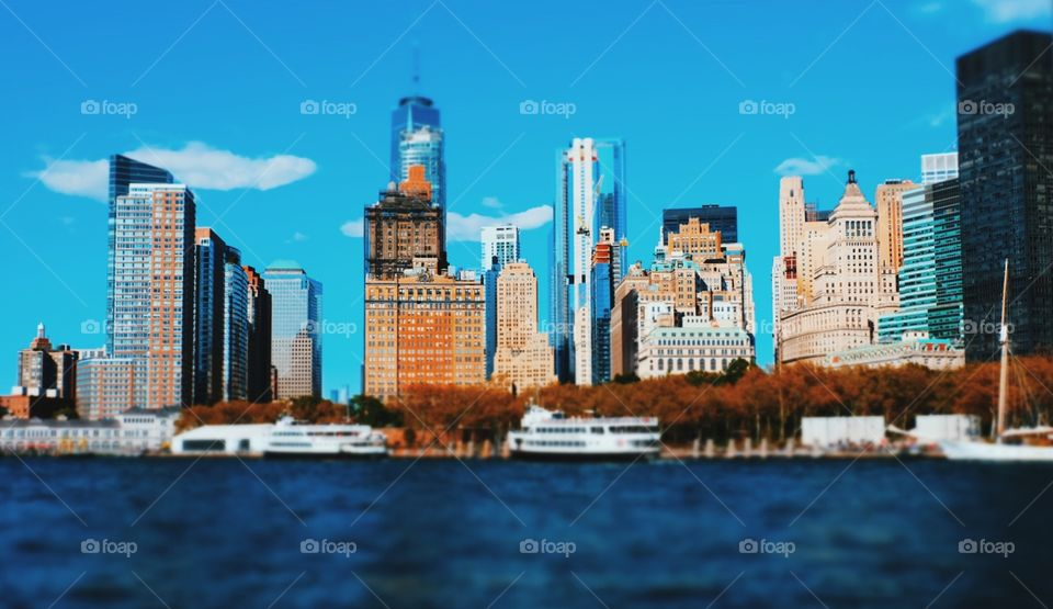 New York City Skyline, Skyscrapers In New York, New York City View, View From The Water, New York On The Water, Bright City Lights, Tall Buildings Downtown, Skyscrapers On The Water, New York City