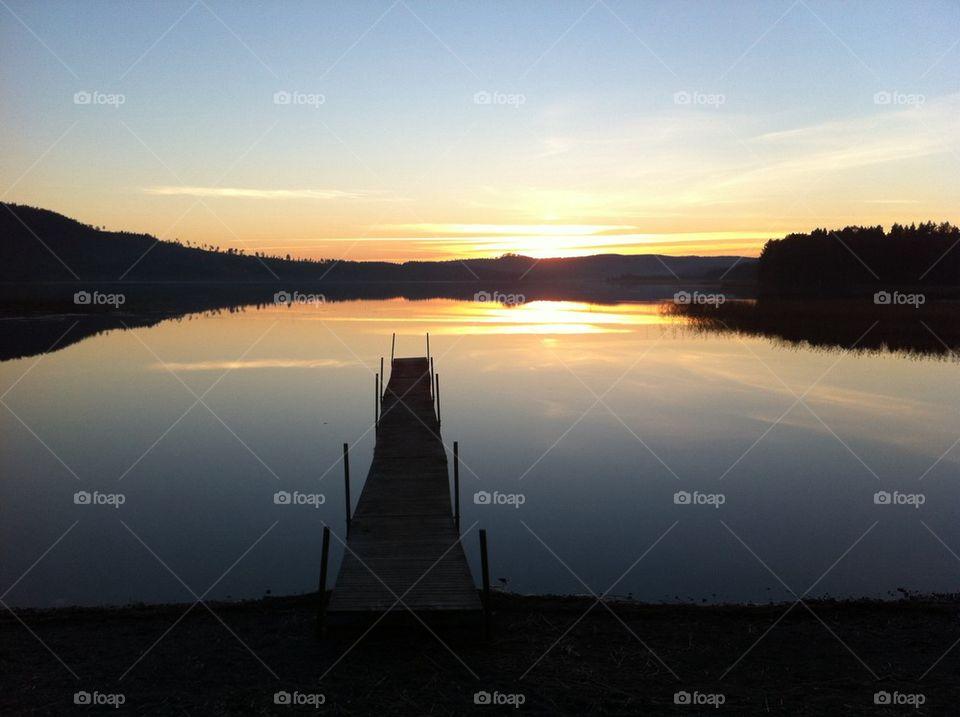 Sunset view of lake
