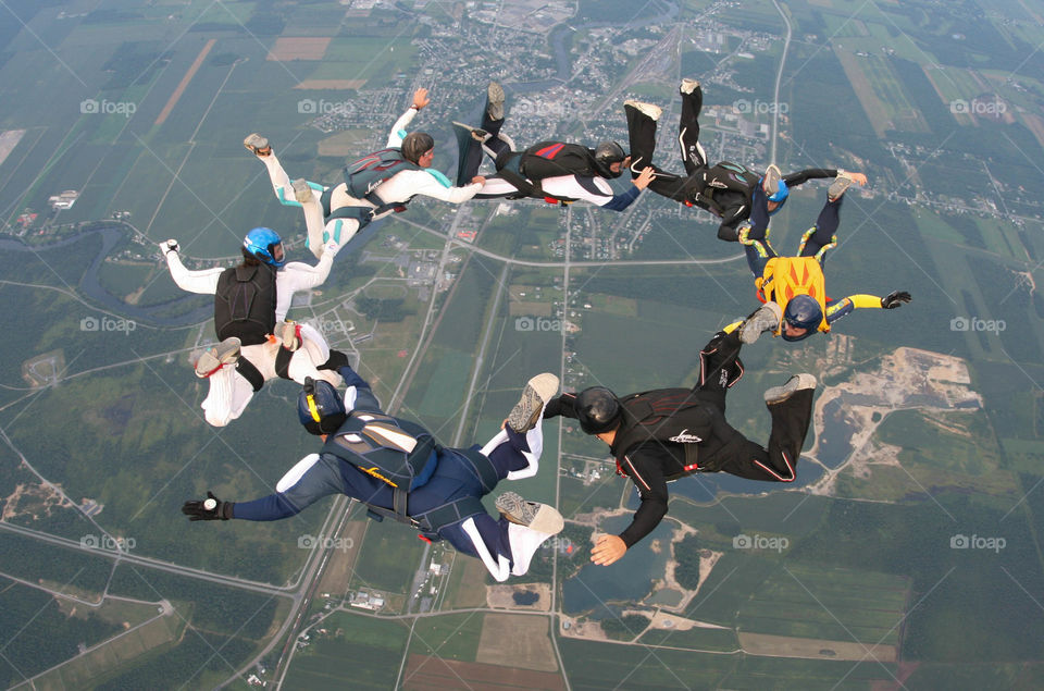 formation skydiving. some friends playing in the sky at parachutisme nouvelair