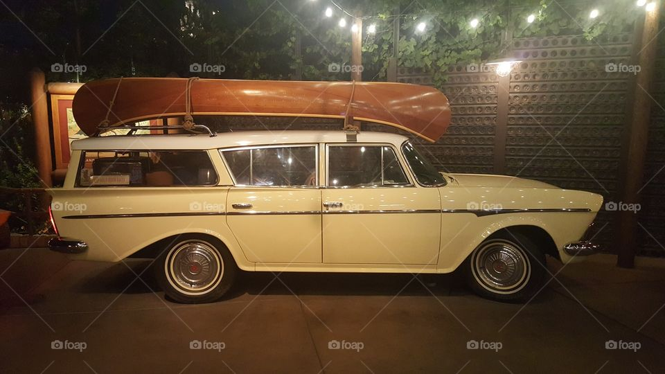 old station wagon on road trip
