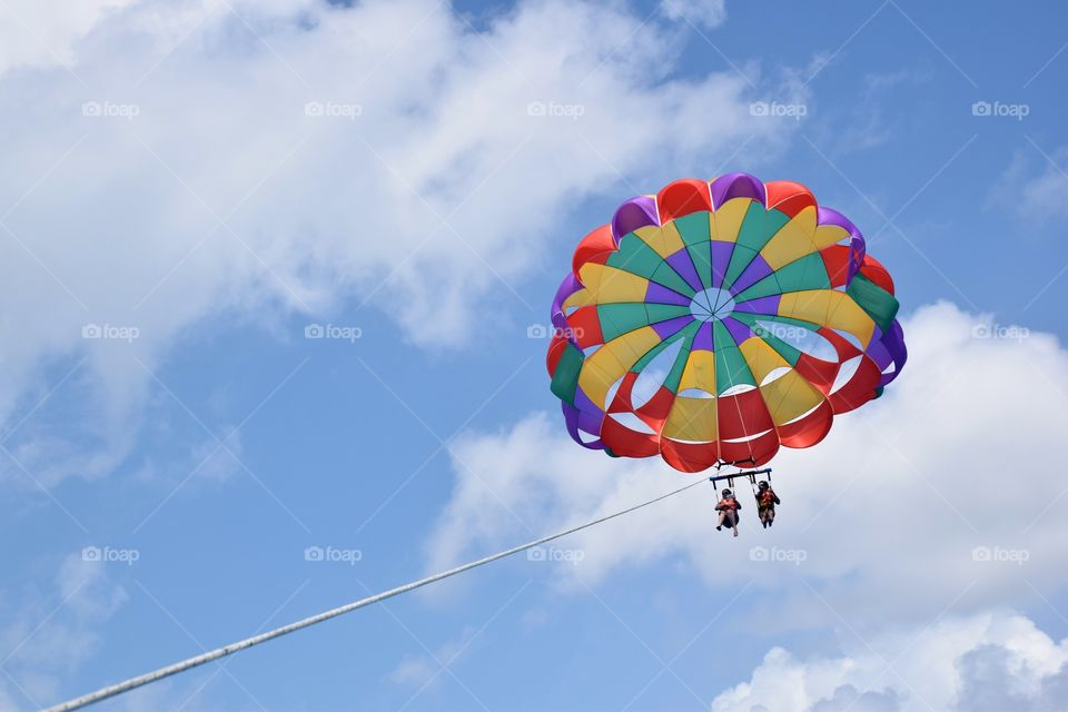 Parasail flying at San Andres island, Colombia