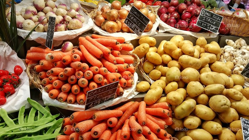 Vegetables in a supermarket in Antibes, France