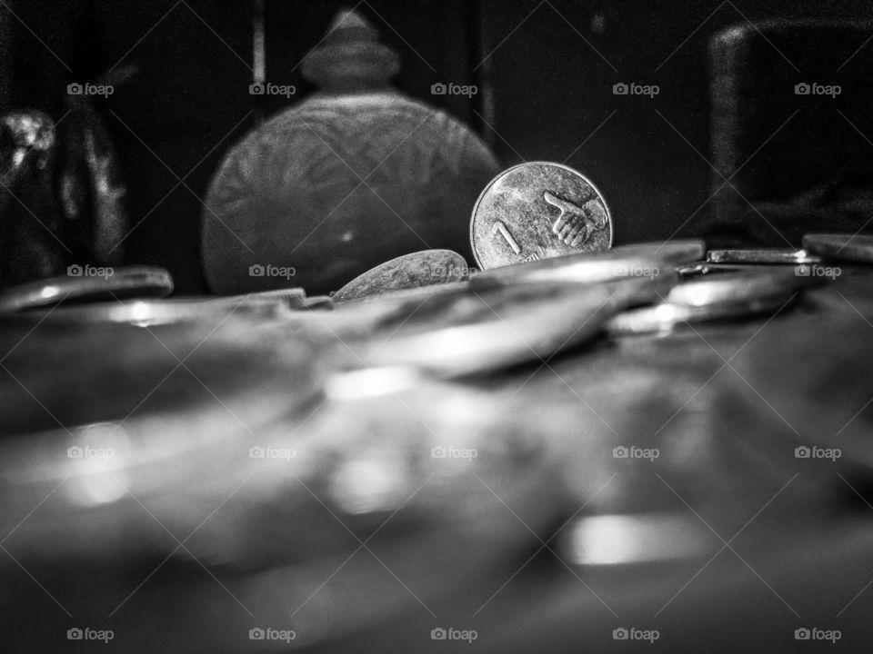 Indian one rupee coin savings