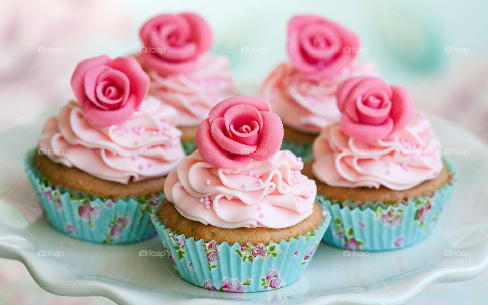 Pink cupcakes in plate