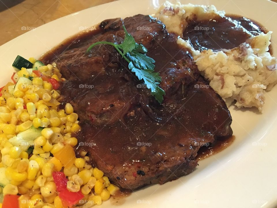 Meatloaf, Corn, Mashed Potatoes and Gravy Comfort Food